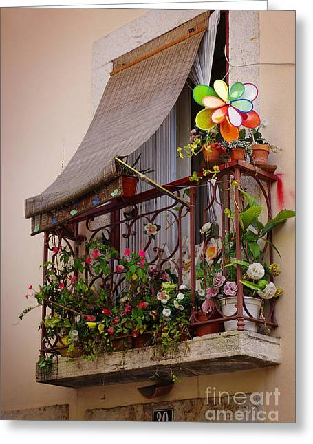 Flowery Balcony Greeting Card by Carlos Caetano