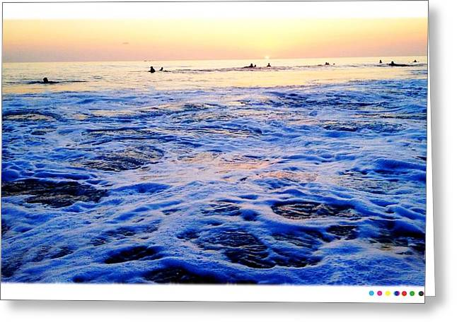 Foamy Sunset Greeting Card by Sebastian Acevedo