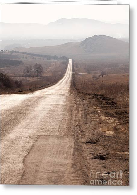 Foggy Road In Dobrogea Greeting Card by Gabriela Insuratelu