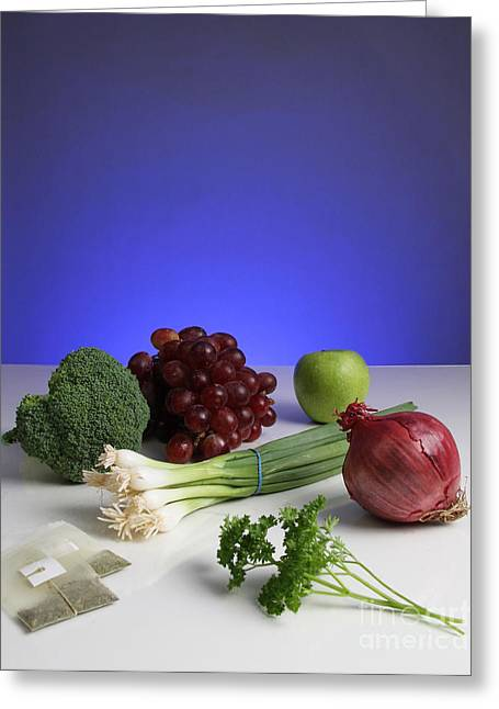 Foods Rich In Quercetin Greeting Card by Photo Researchers, Inc.
