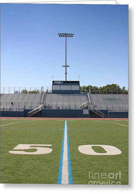 Greeting Card featuring the photograph Football Field Fifty by Henrik Lehnerer