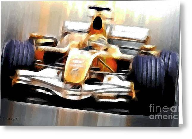 Formula One Greeting Card by Jerry L Barrett