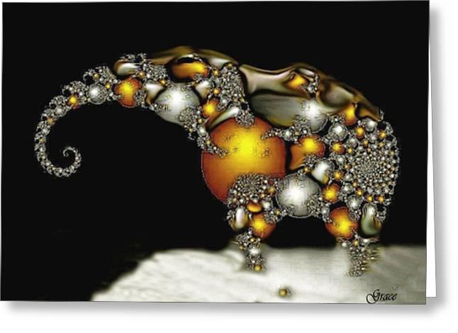 Fractal Elephant Greeting Card by Julie Grace