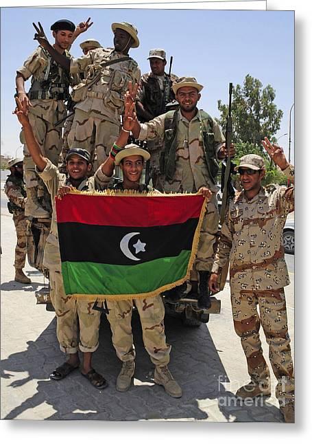 Free Libyan Army Troops Pose Greeting Card