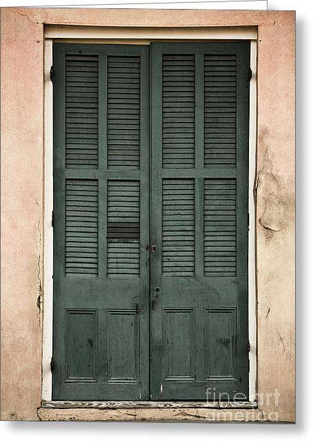 French Quarter Doors Greeting Card by Leslie Leda