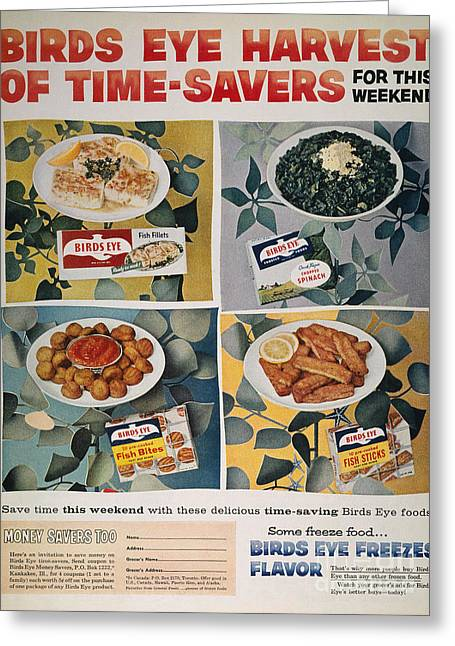 Frozen Food Ad, 1957 Greeting Card