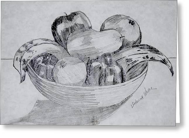 Fruit Bowl Greeting Card by Schnina Walker