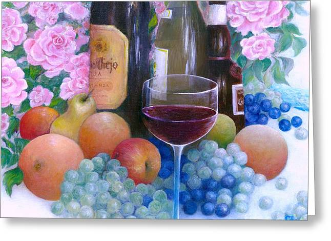Fruits Wine And Roses Greeting Card