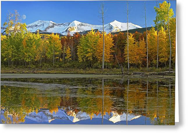 Full Moon Over East Beckwith Mountain Greeting Card by Tim Fitzharris