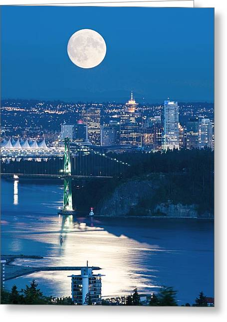 Full Moon Over Vancouver Greeting Card