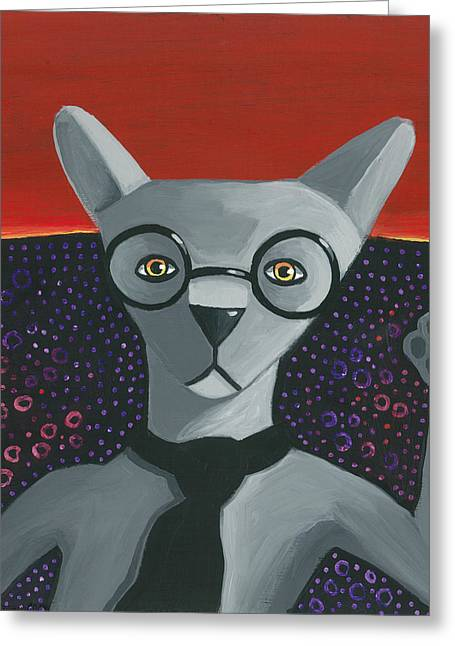 Funky Grey Greeting Card by Mike Lawrence