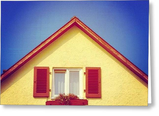 Gable Of Beautiful House In Front Of Blue Sky Greeting Card