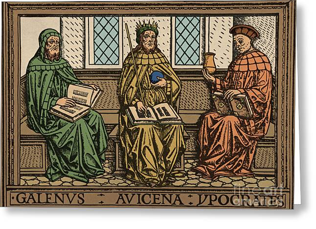 Galen, Avicenna And Hippocrates Greeting Card by Science Source