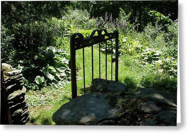 Gate To The Garden Greeting Card by Suzanne Fenster