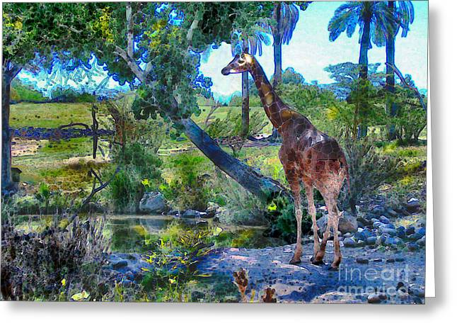 Greeting Card featuring the painting George The Giraffe by Elinor Mavor