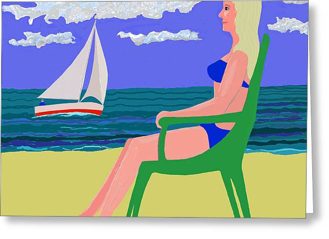 Girl At Beach Greeting Card