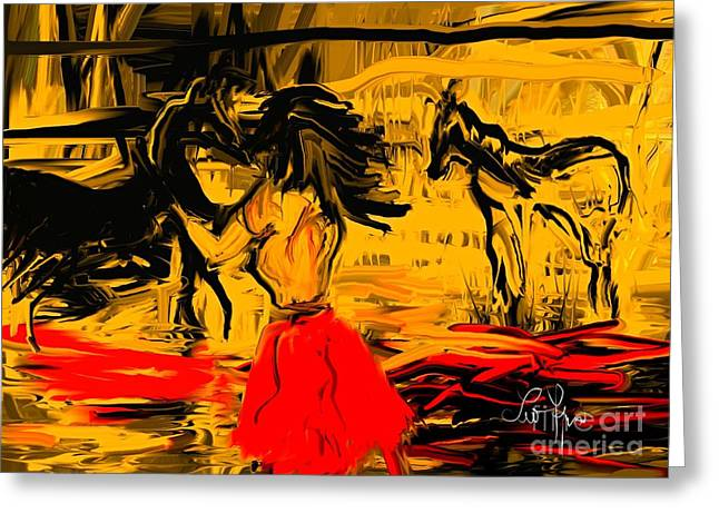 Greeting Card featuring the digital art Girl With Horses by Leo Symon