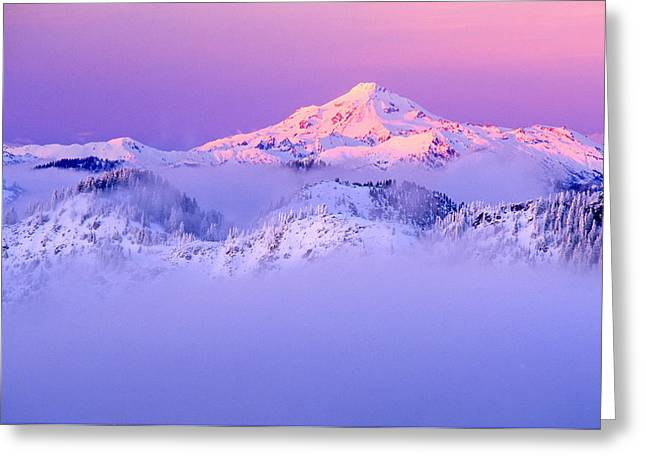 Glacier Peak Alpenglow - Purple Greeting Card by Misao  Okada