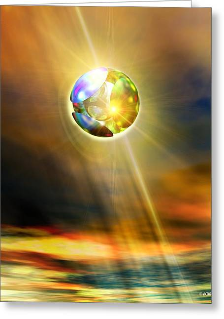 Glowing Ball Ufo Greeting Card by Victor Habbick Visions