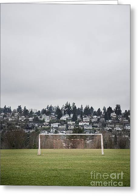 Goal Nets On Soccer Field Greeting Card