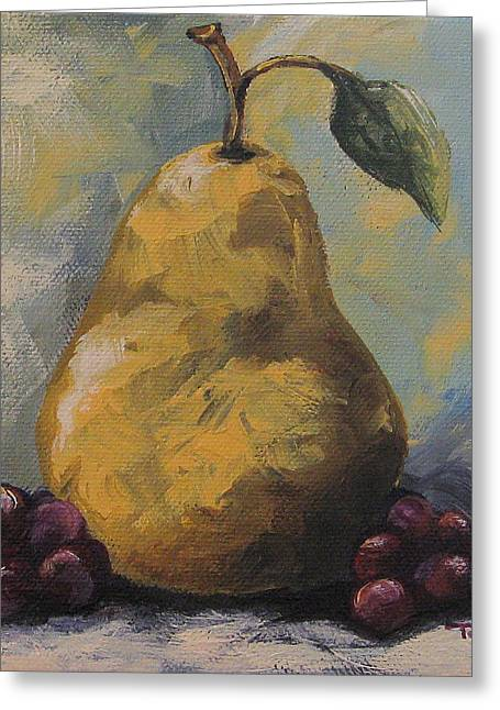 Golden Pear With Grapes Greeting Card by Torrie Smiley