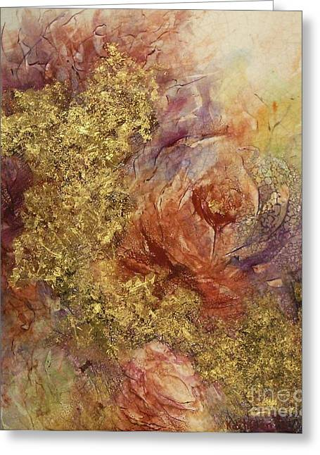 Golden Rose Path Greeting Card by Kathleen Pio