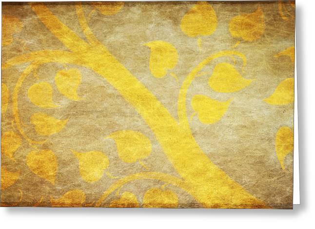 Golden Tree Pattern On Paper Greeting Card by Setsiri Silapasuwanchai