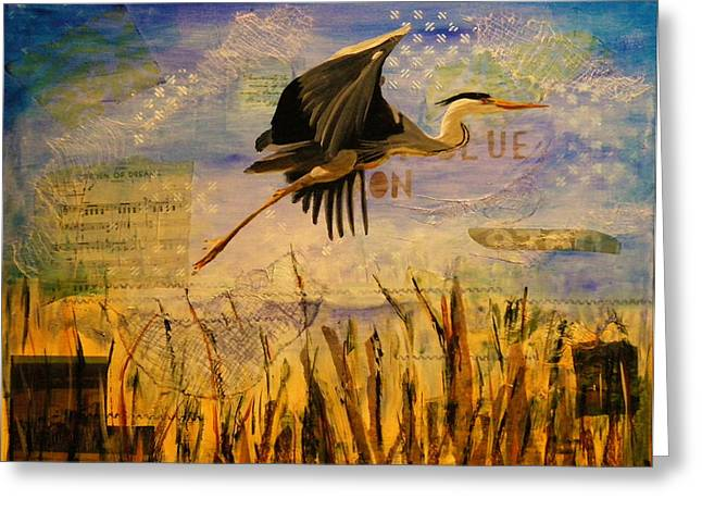 Great Blue Heron Greeting Card by Terry Honstead