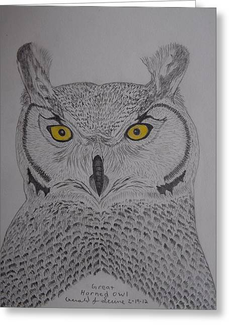 Greeting Card featuring the drawing Great Horned Owl by Gerald Strine