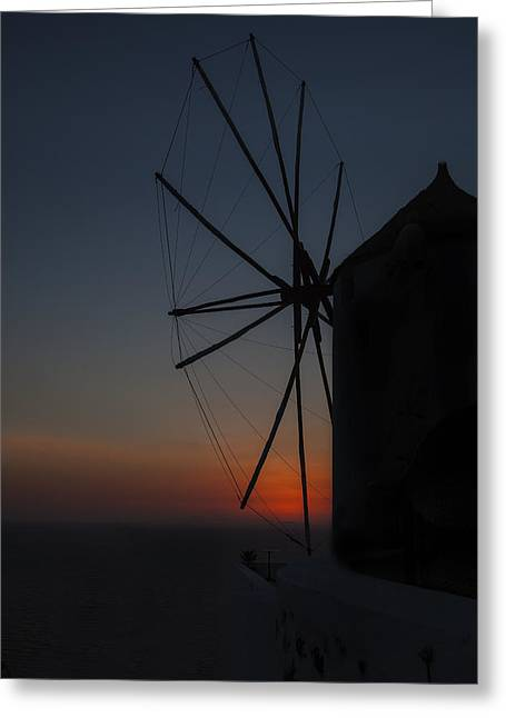 Greek Windmill Greeting Card by Joana Kruse