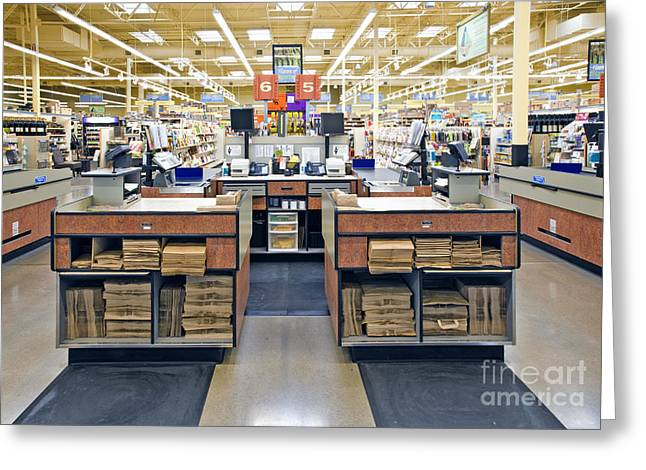 Grocery Store Checkout Counters Greeting Card by David Buffington