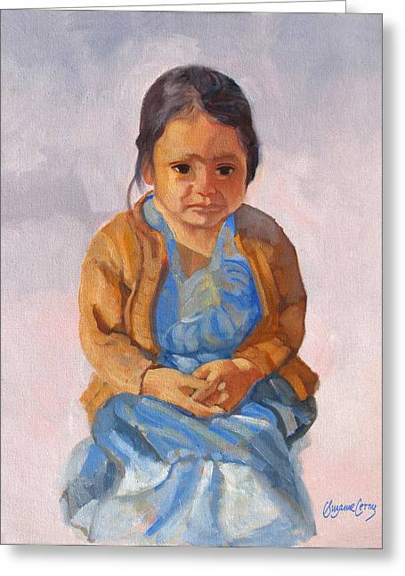 Guatemalan Girl In Blue Dress Greeting Card
