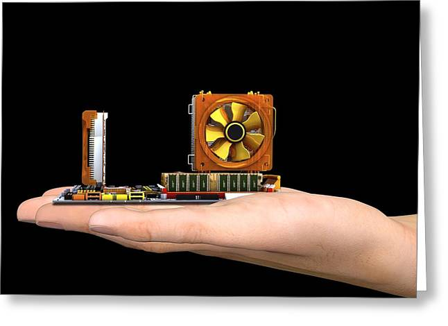 Hand With Computer Motherboard, Artwork Greeting Card