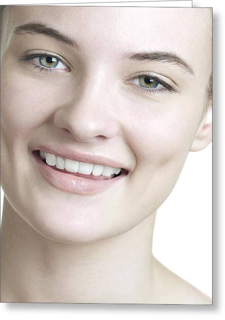 Happy Young Woman Greeting Card by