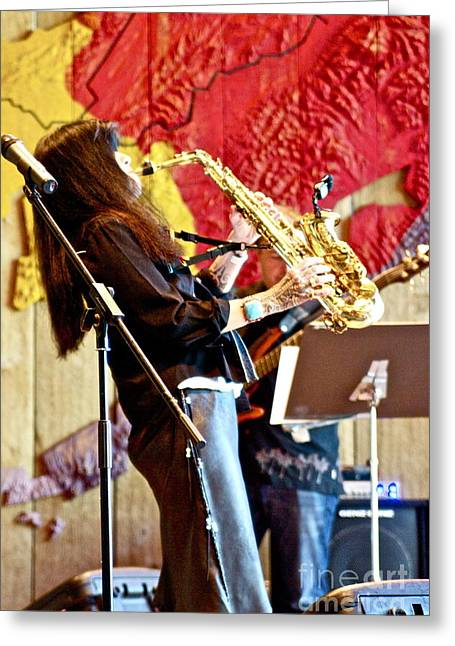 Harjo On Sax Greeting Card by James Knights