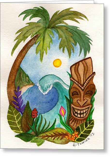 Hawaiian Vignette Greeting Card by Heather Torres