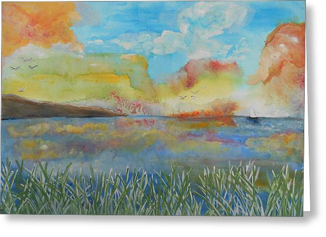He Leads Me Beside The Still Waters Greeting Card by Barbara McNeil