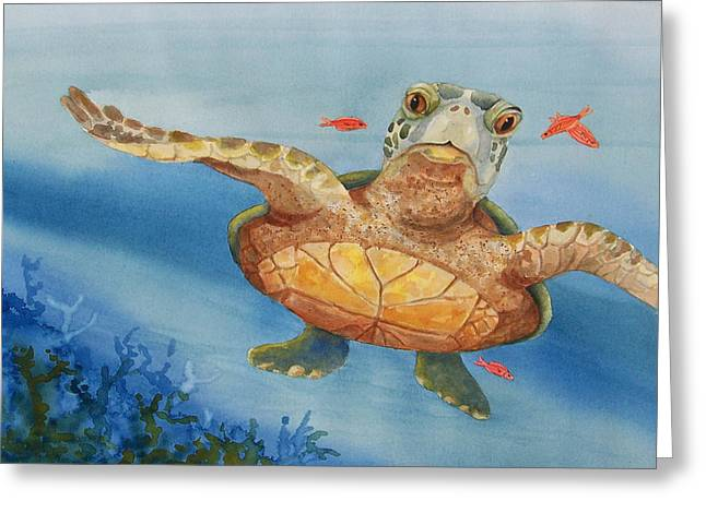Greeting Card featuring the painting Henry C. Turtle-lunch With Friends by Joy Braverman