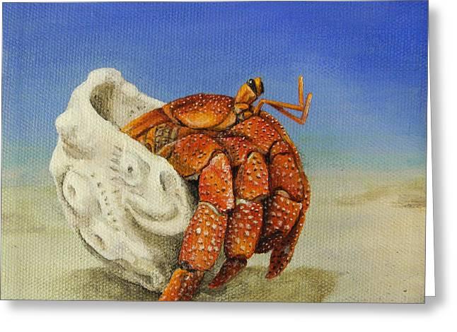 Hermit Crab Greeting Card by Cindy D Chinn