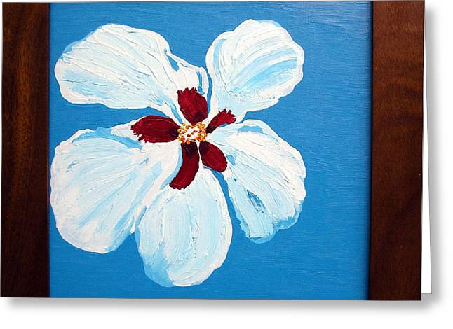 Greeting Card featuring the painting Hibiscus On Blue by Karen Nicholson