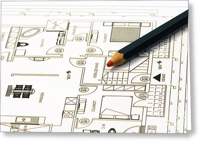 Home Plans Greeting Card by Soultana Koleska