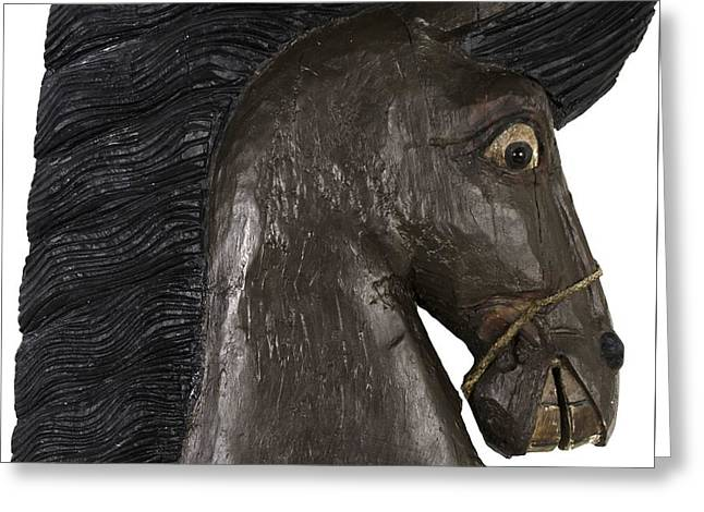 Greeting Card featuring the painting Horse Head by Unsigned