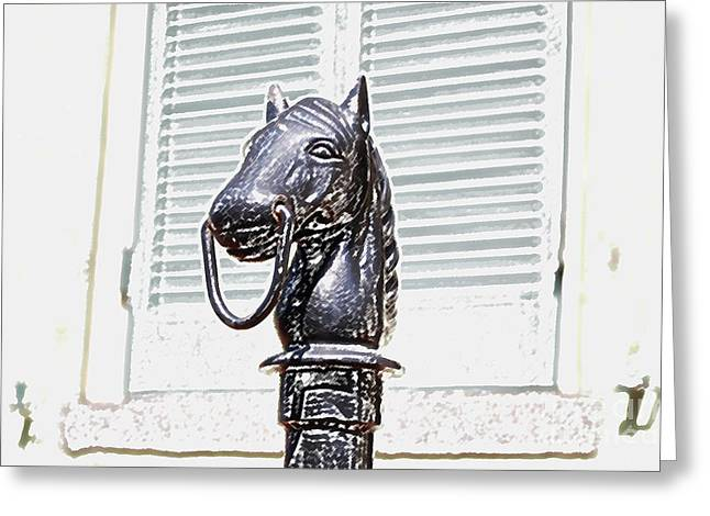 Horse Head Pole Hitching Post Macro French Quarter New Orleans Colored Pencil Digital Art Greeting Card