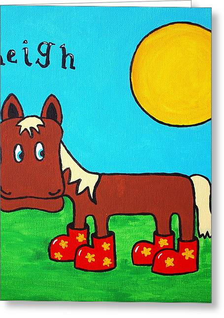 Greeting Card featuring the painting Horse by Sheep McTavish