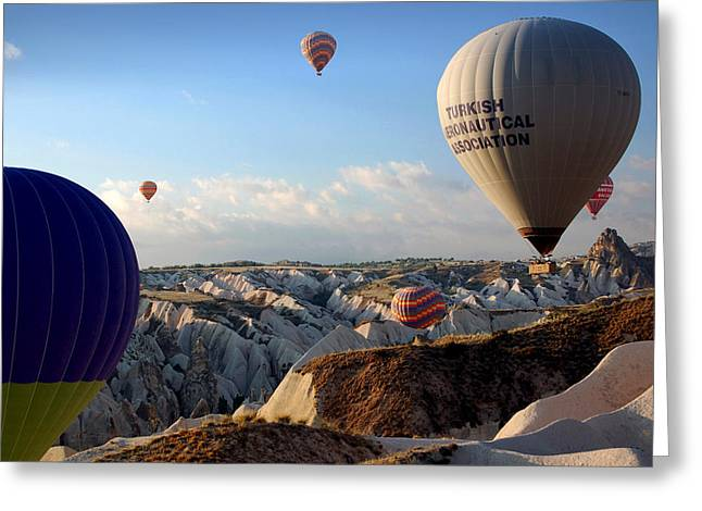 Hot Air Balloons Over Cappadocia Greeting Card by RicardMN Photography