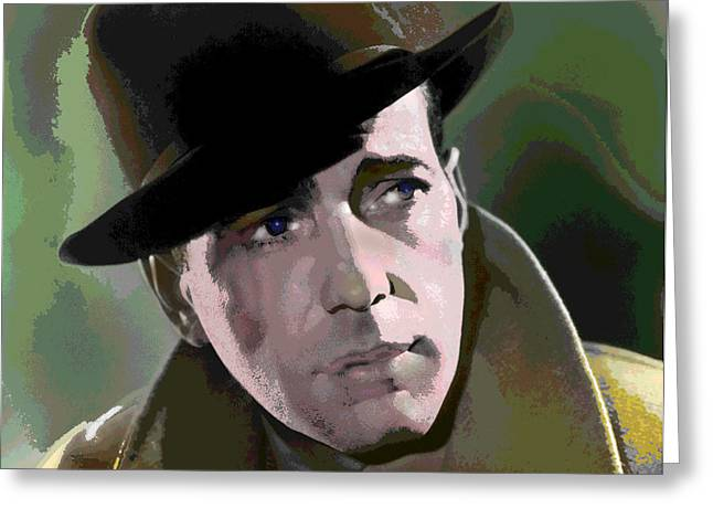 Humphrey Bogart Greeting Card by Charles Shoup