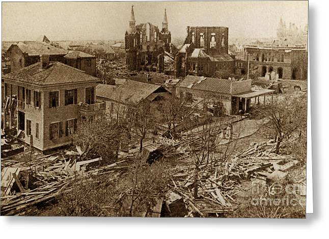 Hurricane Damage, Galveston, 1900 Greeting Card by Science Source