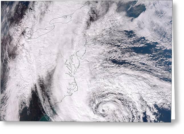 Hurricane Sandy Along The Northeastern Greeting Card