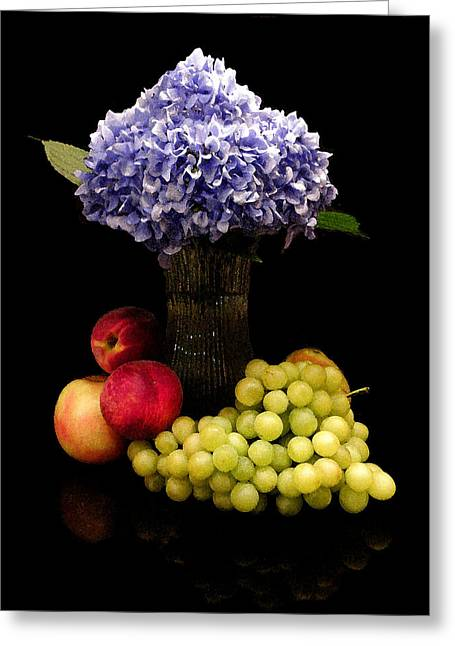 Hydrangea And Fruit Greeting Card by Sandi OReilly