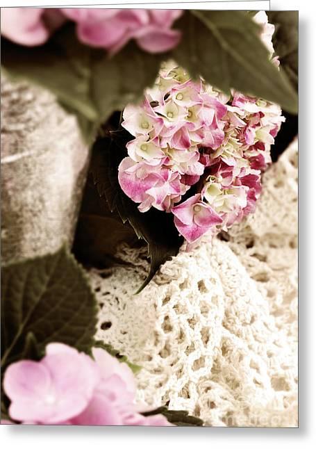 Hydrangeas And Lace Greeting Card by Stephanie Frey